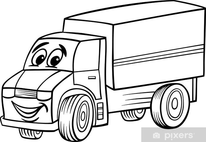 Fotomural Dibujos animados camión divertido para colorear • Pixers ...
