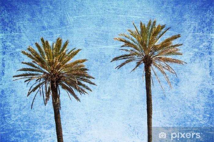 Papier peint vinyle Zwei Palmen vor Grunge Hintergrund - Arbres