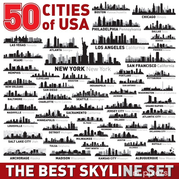 The Best vector city skyline silhouettes set Vinyl Wall Mural - American Cities