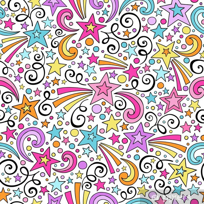 Wall Mural - Vinyl Stars Seamless Pattern- Groovy Doodles Vector Background