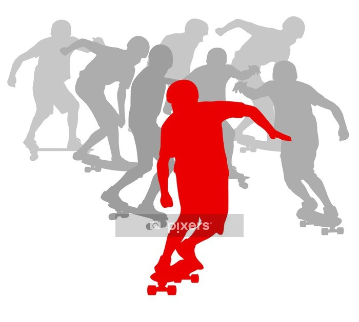 Skateboarder winner in front of crowd vector background Wall Decal - Wall decals