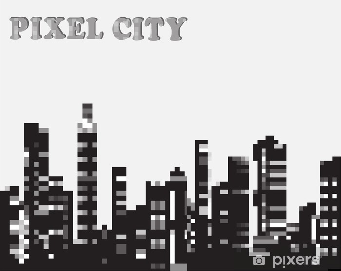 Naklejka Pixerstick Miejskich w grafice sylwetka wektora piksel - Przemysł ciężki