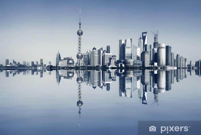 Pixerstick Sticker Dijk van Shanghai bij stadslandschap panoramisch skyline - Thema's