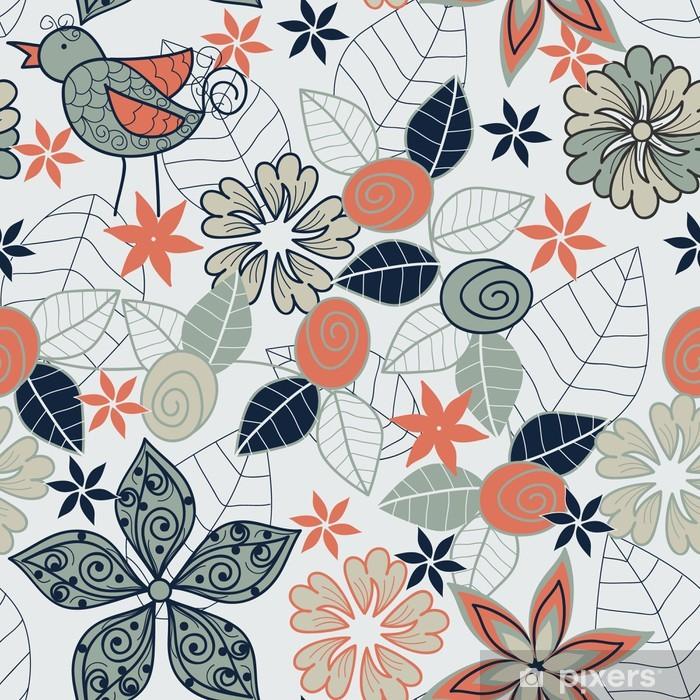 Plakat Wektor bez szwu kwiatu tła z ptaków - Pory roku