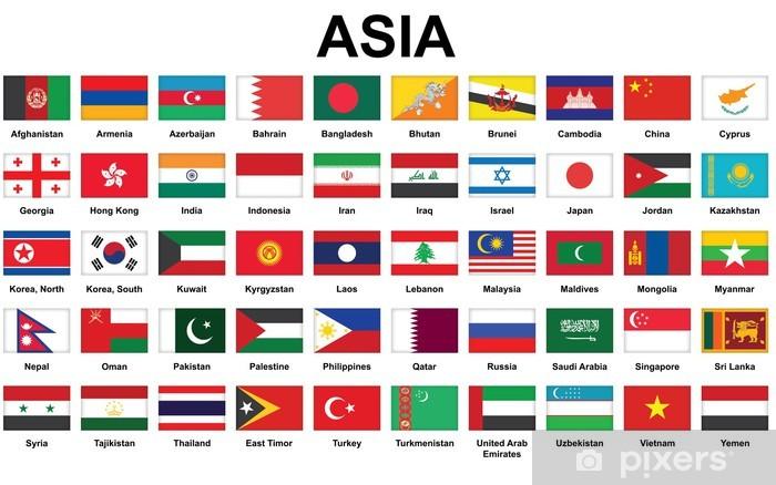 Papier peint vinyle Ensemble d'icônes avec les pays d'Asie drapeaux - Asie