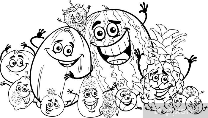 Boyama Kitabı Için Komik Meyveler Karikatür çıkartması Pixerstick