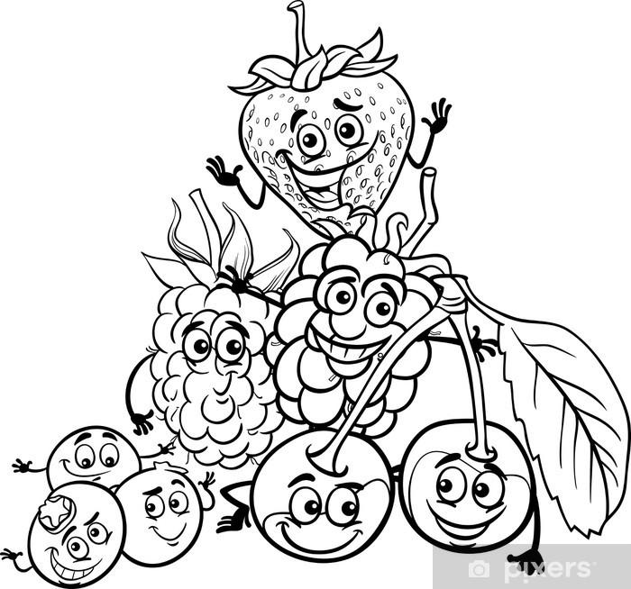 Boyama Kitabı Için Berry Meyveleri Karikatür çıkartması Pixerstick