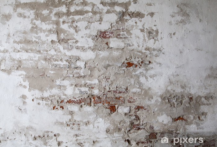 Old Red Brick Wall with Cracked Concrete Pixerstick Sticker - Themes