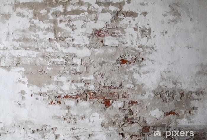 Sticker Pixerstick Vieux mur de brique rouge avec le béton fissuré - Thèmes