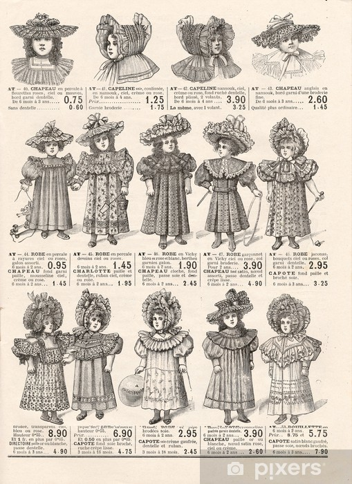fashion for little victorian girls. vintage clothing. Paris 1897 Washable Wall Mural - Styles