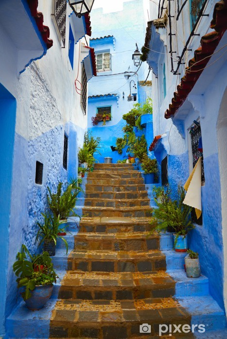 Naklejka Pixerstick Wnętrze marokański niebieskim miasta Chefchaouen medina - Tematy