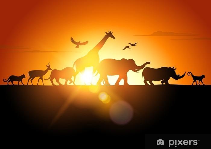 Sunset Safari Pixerstick Sticker - Themes