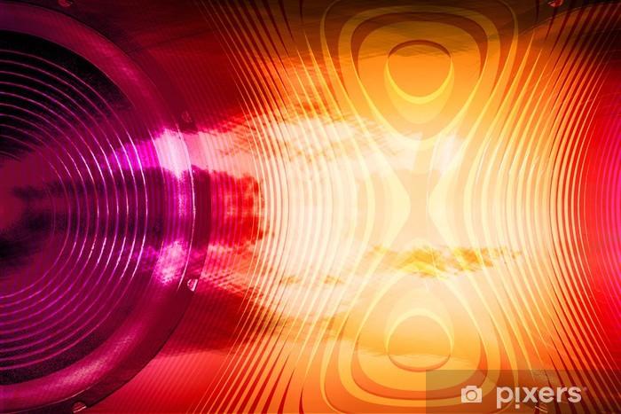 Carta da Parati in Vinile Audio altoparlante colorato con onde sonore - Musica