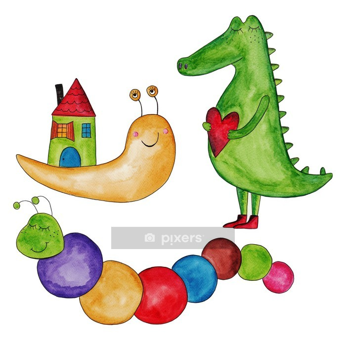 snail, caterpillar and crocodile. Ink and watercolors on paper Wall Decal - Themes