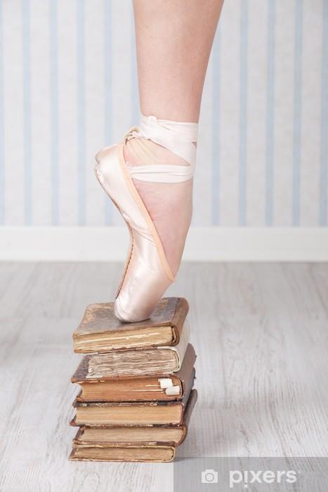 Naklejka Pixerstick Balet buty na stosie starych książek - Hobby i rozrywka