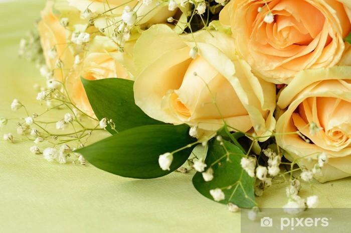 Naklejka Pixerstick Róże na zielonym tle - Świętowanie