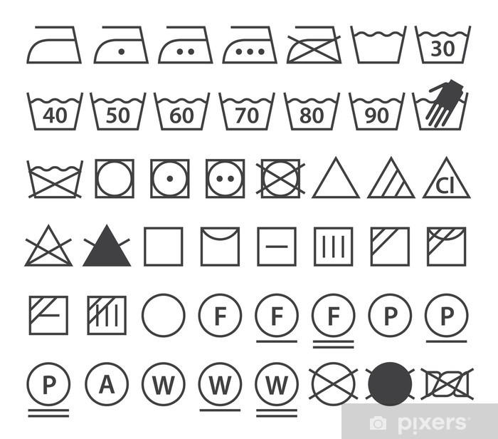 2620c5a6 Pixerstick-klistremerke Sett med vaske symboler (Klesvask ikoner) - Tegn og  Symboler