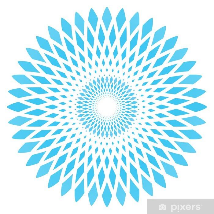 Vector Abstract Blue Circle Flower Self Adhesive Wall Mural