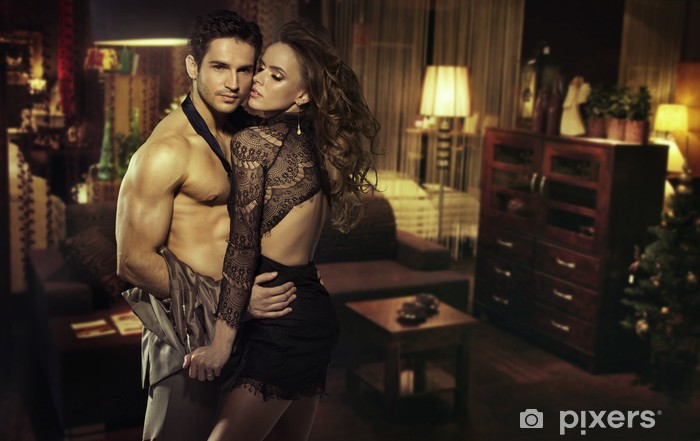 Nálepka Pixerstick Sensual pár v romantickém pokoji - Páry