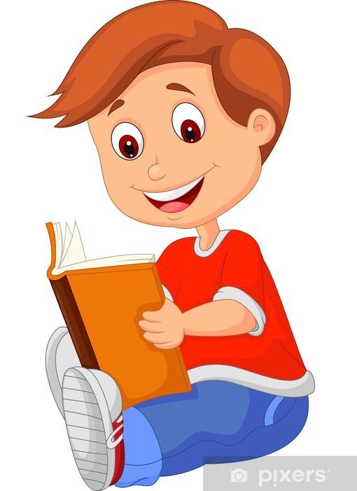 Fototapet Ung pojke läser bok • Pixers® - Vi lever för förändring