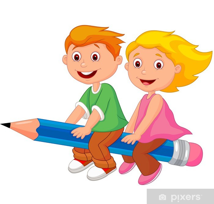 3a6054ddd20a88 Pixerstick Sticker Jongen en meisje vliegen op een potlood - Muursticker