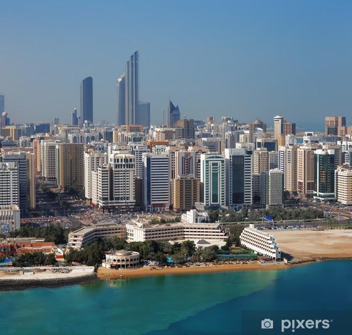 Naklejka Pixerstick Zobacz panoramę Abu Dhabi, stolicy ZEA - Bliski Wschód