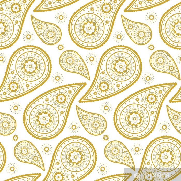 Pattern paisley golden and white Vinyl Wall Mural - Styles