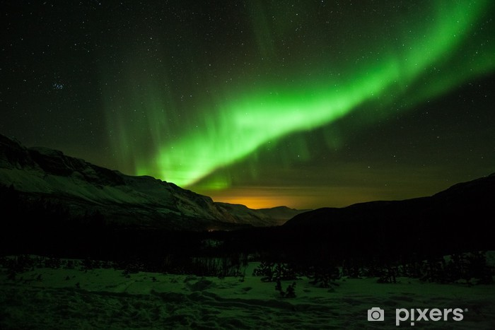 Northern lights in Sweden Pixerstick Sticker - Themes