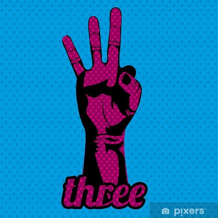 Naklejka Pixerstick Trzy liczby - Części ciała