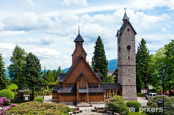 Vang (wang) stave church in Karpacz Pixerstick Sticker - Europe