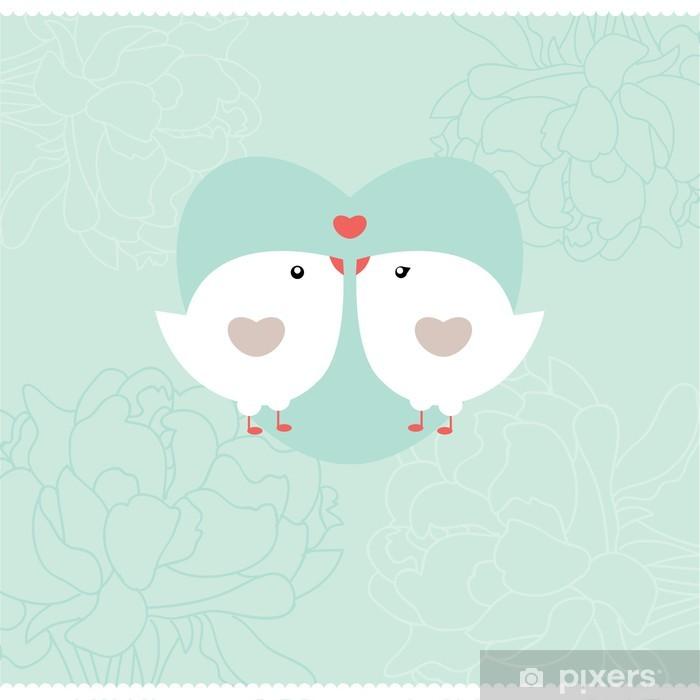 Poster Carton d'invitation avec des oiseaux. Mariage ou Saint Valentin. - Oiseaux