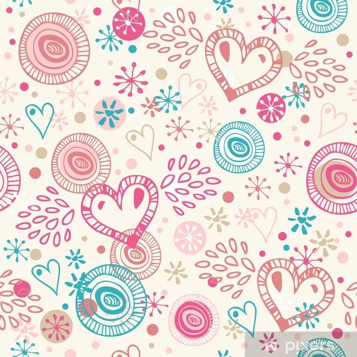Naklejka Pixerstick Doodle abstrakcyjna powtarzalne tła z serca - Style