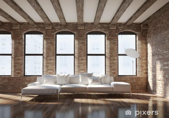 Fototapete Moderne stilvolle Loft Interieur, mit Ziegelwänden, weißen Sofa