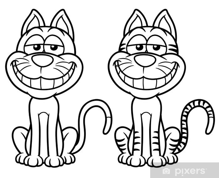 Kedi Karikatür Vektör çizim Boyama Kitabı Duvar Resmi Pixers