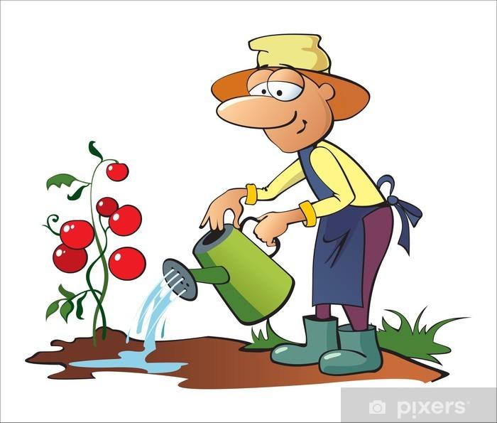 Aufkleber Gärtner-Gießkanne Tomaten • Pixers® - Wir leben
