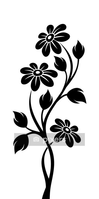 black silhouette of branch with flowers. vector illustration. wall