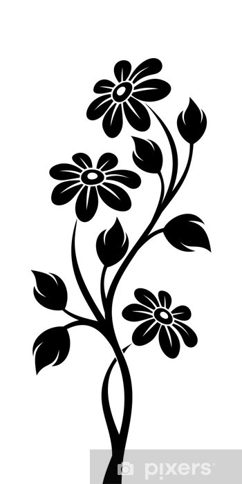 Black silhouette of branch with flowers. Vector illustration. Wall Mural ,  Vinyl