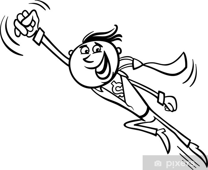 Fototapeta winylowa Cartoon ilustracji biznesmen superbohater - Koncepcje biznesowe