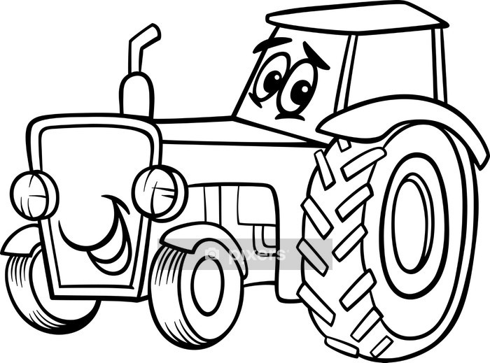 Wandtattoo Traktor Cartoon Für Malbuch Pixers Wir Leben Um Zu