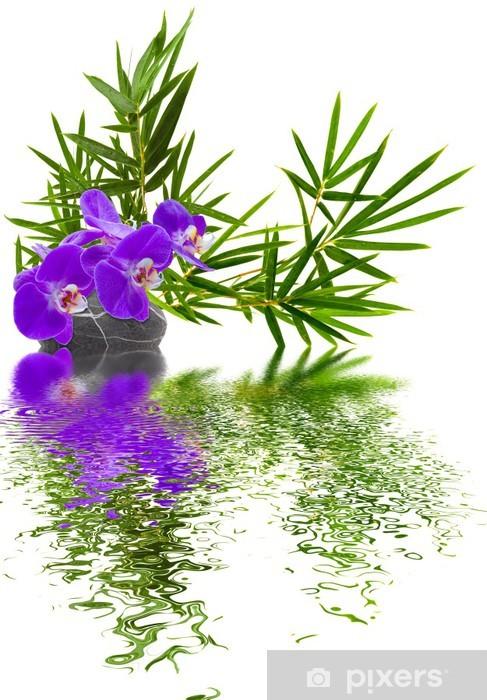Nálepka Pixerstick Složení bambusu Orchidée galet -