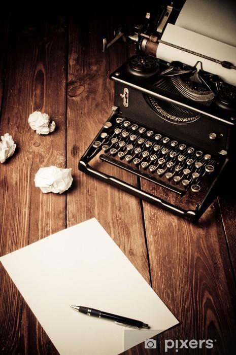 Sticker Pixerstick Vintage machine à écrire et une feuille de papier vierge, retouche rétro - Machines