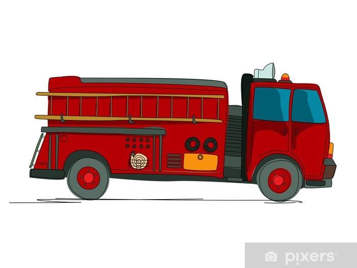 Fire truck cartoon Pixerstick Sticker - Ethics