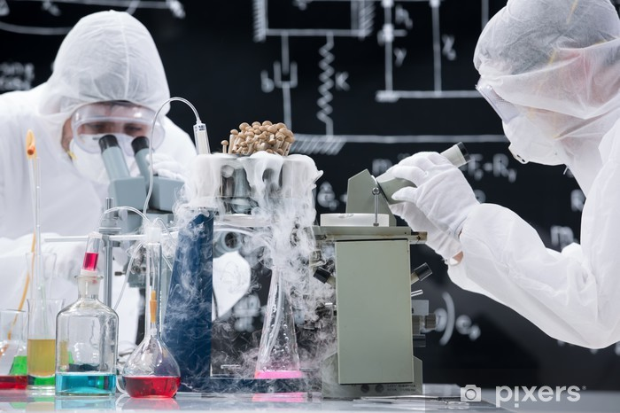 Laboratory scientists working with microscopes Vinyl Wall Mural - Professions