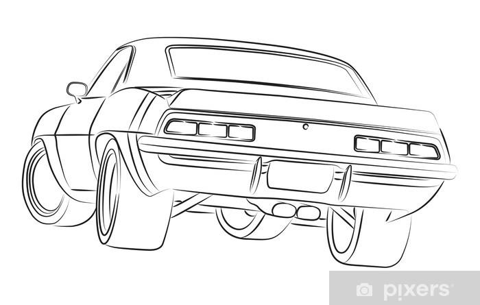 Fototapete Muscle Car Zeichnung Pixers Wir Leben Um Zu Verandern