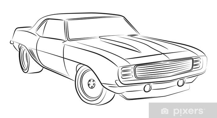 Aufkleber Muscle Car Zeichnung Pixers Wir Leben Um Zu Verandern