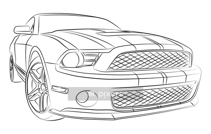Modern Muscle Car Drawing Wall Decal Pixers We Live To Change