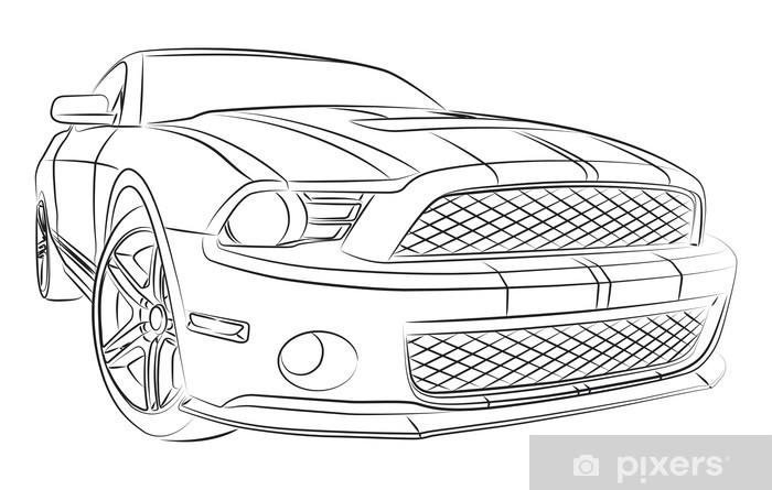 modern muscle car drawing wall mural • pixers® • we live to change