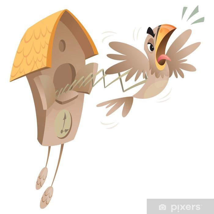 Nálepka Pixerstick Bláznivý hodiny s kukačkou - Ptáci