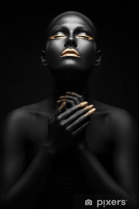 Vinyl Fotobehang Mooie zwarte meisje met gouden make-up - Schoonheid en Lichaamsverzorging