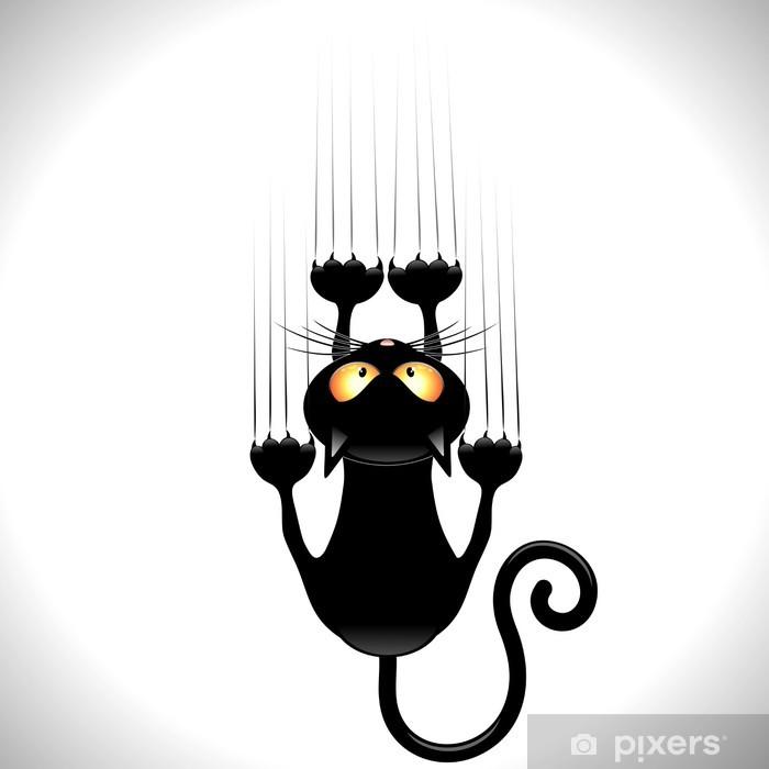 Vinilo Pixerstick Historieta del gato rascarse pared Gatto nero Graffia Muro - Mamíferos